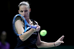 October 27, 2018 - Singapore - Karolina Pliskova of the Czech Republic returns a shot during the semi final match between Sloane Stephens and Karolina Pliskova on day 7 of the WTA Finals at the Singapore Indoor Stadium. (Credit Image: © Paul Miller/ZUMA Wire)