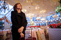 Kay LeRoy, widow of Warner LeRoy, the former owner of Tavern on the Green, in the Chrystal Room gives a tour of what is to be auctioned as the restaurant nears it's end. .(Photo by Robert Caplin)..