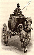 French postal service.  A Tilbury, a light 2-wheeled horse-drawn vehicle used in the Paris the postal service for bulk transport of letters. Engraving from 'Le Journal de la Jeunesse' (Paris, 1886).