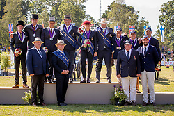 DodderTeams podium, Deutschland, Belgium, France<br /> Prizegiving FEI rider of the year<br /> Driving European Championship <br /> Donaueschingen 2019<br /> © Hippo Foto - Dirk Caremans<br /> Teams podium, Deutschland, Belgium, France