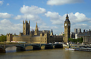 Big Ben, the Houses of Parliament, River Thames famous tourist landmark, Westminster Bridge, London, England, United Kingdom