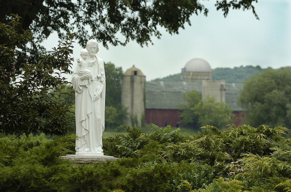 A statue of Joseph and the infant Jesus at the School Sisters of Notre Dame convent in Campbellsport, Wis. (Photo by Sam Lucero)