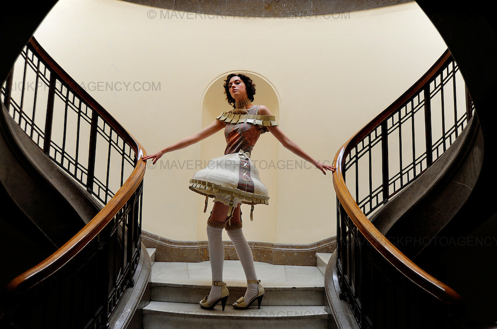 """Graduating students showed off their Performance Costume designs in Edinburgh's National Gallery of Scotland at a preview ahead of the Edinburgh College of Art fashion show.  Creating costumes for the screen and stage, the students have let their imaginations run riot taking inspiration from opera, short stories, novels, plays, and poems.  Pictured Charlie Banks shows off her dress titled """"Pamina from the operetta The Magic Flute by Mozart""""."""