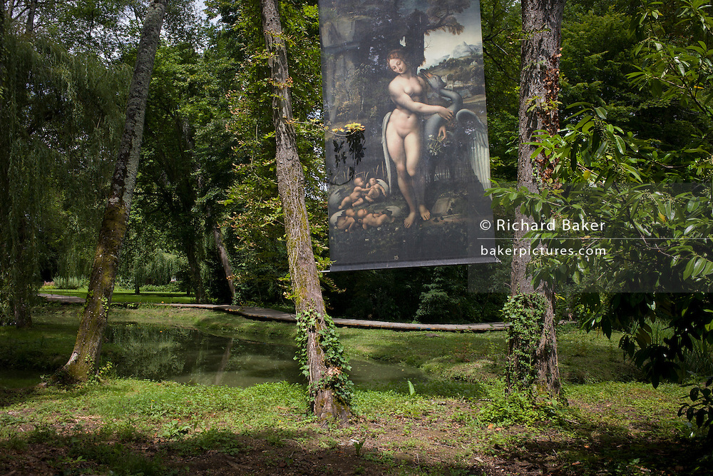 An image of 'Leda and the Swan' in the gardens of at Chateau de Clos Lucé, home to Leonardo da Vinci for the last 3 years of his life and now a celebration of his life and achievements, Amboise, France.