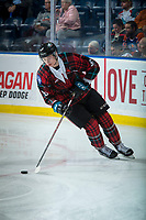 KELOWNA, CANADA - MARCH 10:  Kaedan Korczak #6 of the Kelowna Rockets skates with the puck against the Kamloops Blazers on March 10, 2018 at Prospera Place in Kelowna, British Columbia, Canada.  (Photo by Marissa Baecker/Shoot the Breeze)  *** Local Caption ***