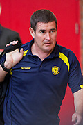 Burton Albion manager Nigel Clough arrives at Old Trafford before the EFL Cup match between Manchester United and Burton Albion at Old Trafford, Manchester, England on 19 September 2017. Photo by Richard Holmes.