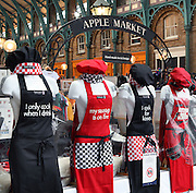 Fancy cooking aprons displayed at Covent Garden Market, London, UK. Picture by Manuel Cohen
