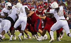 September 16, 2017 - Boca Raton, Florida, U.S. - Florida Atlantic Owls quarterback Daniel Parr (13) runs a quarterback sneak for a touchdown in the second quarter against Bethune Cookman Wildcats in Boca Raton, Florida on September 16, 2017. (Credit Image: © Allen Eyestone/The Palm Beach Post via ZUMA Wire)