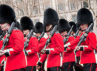 Queens Guard Soldiers marching in Central London during Thatcher funeral