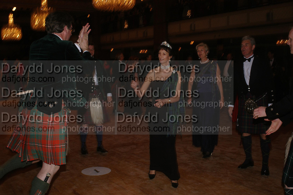 Viscount Dupplin and Iona, Duchess of Argyll. The  Royal Caledonian Ball in aid of The Royal Caledonian Ball Trust held at The Grosvenor House Hotel, Park Lane, London W1.  28  April 2005. ONE TIME USE ONLY - DO NOT ARCHIVE  © Copyright Photograph by Dafydd Jones 66 Stockwell Park Rd. London SW9 0DA Tel 020 7733 0108 www.dafjones.com