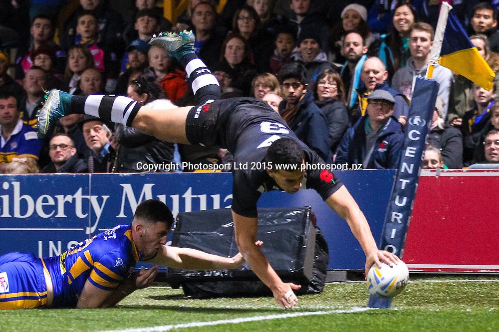 23/10/2015 - Rugby League - Leeds Rhinos vs New Zealand - Headingley Stadium, Leeds, England - New Zealand's Jordan Kahu scores a try.<br /> Photo credit: Alex Whitehead / www.photosport.nz