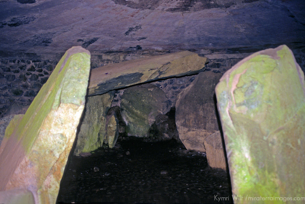 Europe, United Kingdom, Wales, Angelesey. Interior of the ancient burial chamber of Bryn Celli Ddu, c. 2000BC, a CADW Welsh Heritage Site.