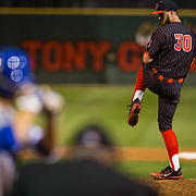 16 February 2018: San Diego State baseball opened up the season against UCSB at Tony Gwynn Stadium. San Diego State pitcher Daniel Ritcheson (30) seen here in the eight inning against UCSB. The Aztecs beat the Gauchos 9-1. <br /> More game action at sdsuaztecphotos.com