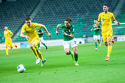 Gaber Dobrovoljc of NK Domzale with Matej Podlogar of NK Domzale with Stefan Savic of NK Olimpija during football match between NK Olimpija and NK Domzale in 2nd Round of Prva liga Telekom Slovenije 2019/20, on July 21st, 2019, in Stadium Stozice, Ljubljana, Slovenia. Photo by Grega Valancic / Sportida