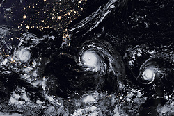 September 9, 2017 - Atlantic Ocean, U.S. - Image Released Today: Meteorologists struggled to find the right words to describe the situation as a line of three hurricanes, two of them major and all of them threatening land brewed in the Atlantic basin. Forecasters were most concerned about Irma, which was on track to make landfall in densely populated South Florida on September 10 as a large category 4 storm. Meanwhile, category 2 Hurricane Katia was headed for Mexico, where it was expected to make landfall on September 9. And just days after Irma devastated the Leeward Islands, the chain of small Caribbean islands braced for another blow, this time from category 4 Hurricane Jose. The Visible Infrared Imaging Radiometer Suite (VIIRS) on the Suomi NPP satellite captured the data for a mosaic of Katia, Irma, and Jose as they appeared in the early hours of September 8, 2017. (Credit Image: © NASA/ZUMA Wire)