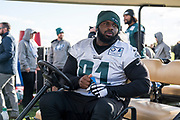 Philadelphia Eagles Fletcher Cox DT (91) sits in a golf buggy during the press, training and media day for Philadephia Eagles at London Irish Training Ground, Hazelwood Centre, United Kingdom on 26 October 2018. Picture by Jason Brown.