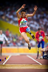 "Ewa Zielinska of Poland competes in the women's F42 Long Jump during the Beijing 2008 Paralympic Games; National ""Bird's Nest"" Stadium, Beijing Olympic Green, China, 8th September 2008;"