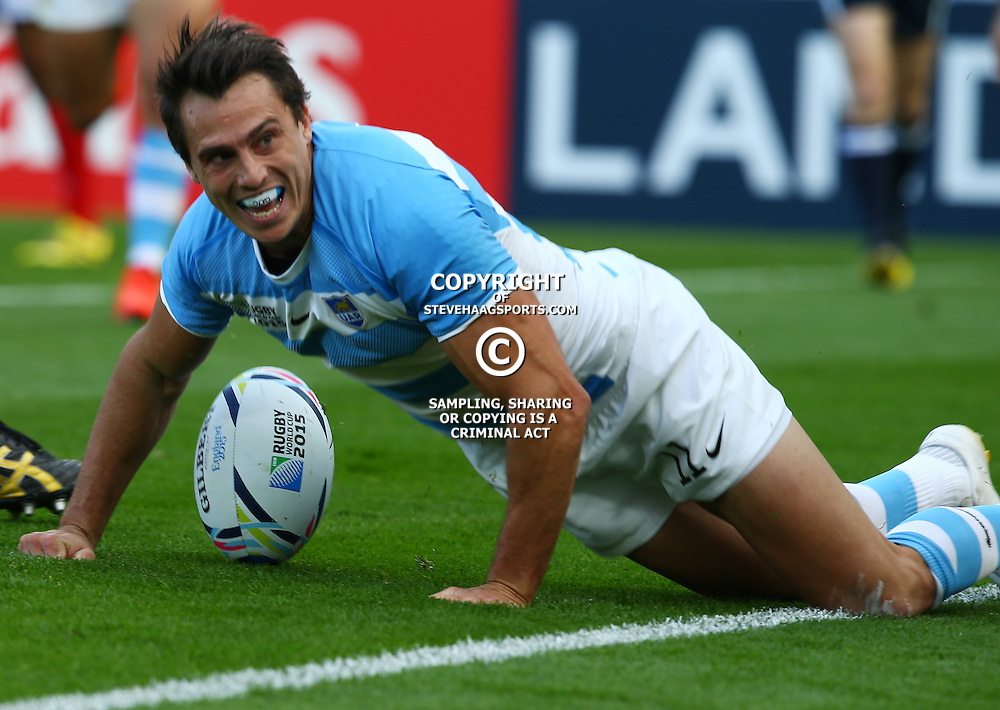LEICESTER, ENGLAND - OCTOBER 04: Juan Imhoff of Argentina over for a try during the Rugby World Cup 2015 Pool C match between Argentina and Tonga at Leicester City Stadium on October 04, 2015 in Leicester, England. (Photo by Steve Haag/Gallo Images)