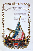 Title page of 'Histoire des corps de troupes de la ville de Paris' , 1887.  From 1254-1791 the Guet Royal was responsible for order in the city, a role taken over at the Revolutiion by the National Guard in each city.  France