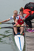 Plovdiv, Bulgaria, {DATE, }FISA, Rowing World Cup 1, BLR, W2X, (s) Krystsina STARASELETS, in congratulated by BLR team member,  (b) Tatsiana KLIMOVICH, , after winning Silver in W2X Final, [© Karon PHILLIPS/ Intersport Images]
