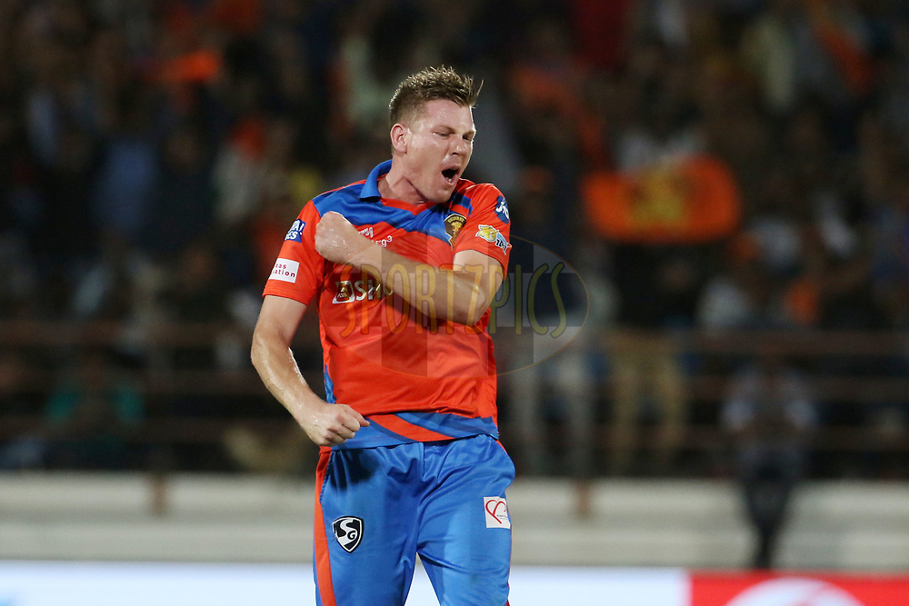 James Faulkner of the Gujarat Lions celebrates the wicket of Parthiv Patel of the Mumbai Indians during match 35 of the Vivo 2017 Indian Premier League between the Gujarat Lions and the Mumbai Indians  held at the Saurashtra Cricket Association Stadium in Rajkot, India on the 29th April 2017<br /> <br /> Photo by Vipin Pawar - Sportzpics - IPL