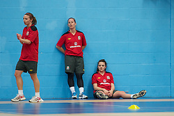 TREFOREST, WALES - Tuesday, February 14, 2011: Wales' Lauren Dykes, Kylie Davies and Nia Jones during a fitness testing day at the Glamorgan Sports Park. (Pic by David Rawcliffe/Propaganda)