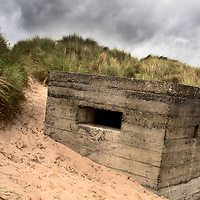 World War II Pillbox at Druridge Bay near Amble by the Sea on the Northumberland Coast England