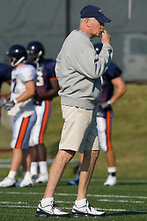 Virginia head coach Al Groh blows his whistle during a drill.  The Virginia Cavaliers football team during an open practice on August 16, 2008 at the University of Virginia's football turf field in Charlottesville, VA.