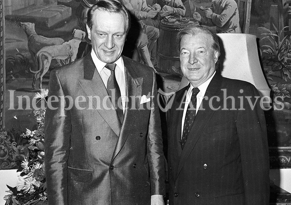 The Taoiseach Mr Charles Haughey with the Prime Minister of Finland Mr, Harri Holkeri at Dublin Castle, circa April 1990 (Part of the Independent Newspapers Ireland/NLI Collection).