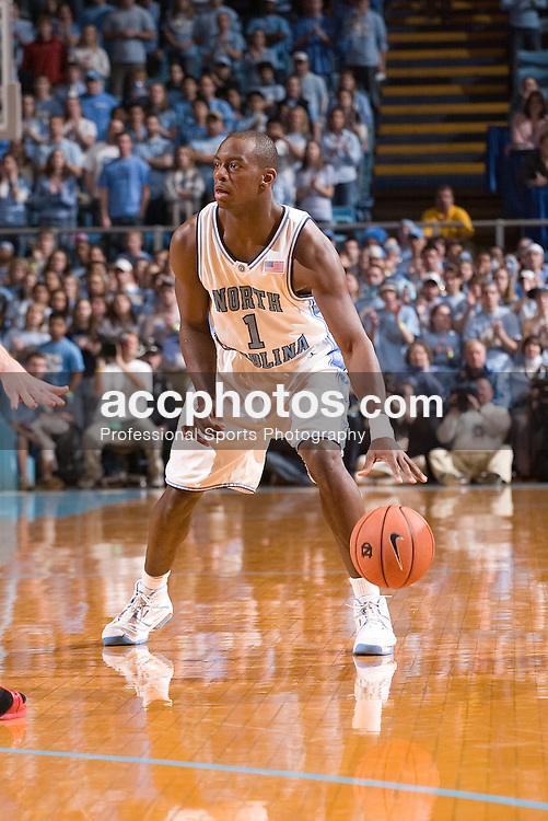 07 January 2006:  Marcus Ginyard (1) in a North Carolina State Wolfpack 69-82 loss to the North Carolina Tarheels, in the Dean Smith Center in Chapel Hill, NC.