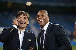 August 17, 2017 - Madrid, Spain - Former Real Madrid players Fernando Morientes and Julio Baptista. Real Madrid defeated Barcelona 2-0 in the second leg of the Spanish Supercup football match at the Santiago Bernabeu stadium in Madrid, on August 16, 2017. (Credit Image: © Antonio Pozo/VW Pics via ZUMA Wire)