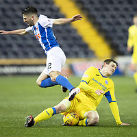 Kilmarnock v St Johnstone…07.03.18…  Rugby Park    SPFL<br />Greg Taylor is tackled by Blair Alston<br />Picture by Graeme Hart. <br />Copyright Perthshire Picture Agency<br />Tel: 01738 623350  Mobile: 07990 594431