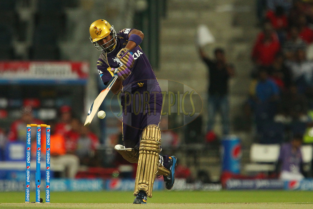 Suryakumar Yadav of the Kolkata Knight Riders during match 15 of the Pepsi Indian Premier League 2014 Season between The Kings XI Punjab and the Kolkata Knight Riders held at the Sheikh Zayed Stadium, Abu Dhabi, United Arab Emirates on the 26th April 2014<br /> <br /> Photo by Ron Gaunt / IPL / SPORTZPICS