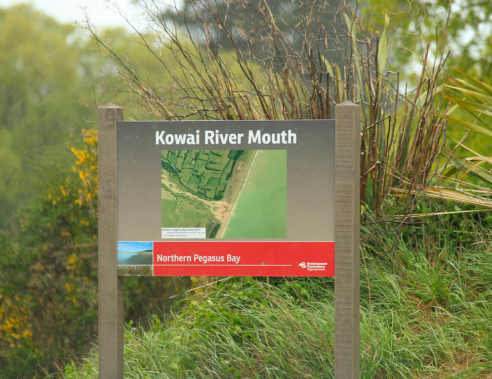 Kowai River mouth sign, North Canterbury, New Zealand, Wednesday, October 19, 2011.  Credit:SNPA / Pam Johnson.