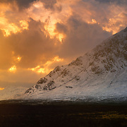 Winter sun over Glen Etive, Stob Dearg, Buachaille, Etive Mor, Glen Coe,