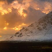 Winter sun over Glen Etive, Stob Dearg, Buachaille, Etive Mor, Glen Coe,