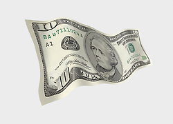 10 flat front 001 United States ten dollar bill floating on air with a white background