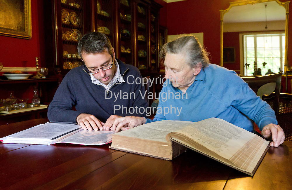 18/5/11.Turtle Bunbury and Jane de Montmorency-Wright pictured looking over family history at Jane's home in Bennettsbridge County Kilkenny..Dylan Vaughan.