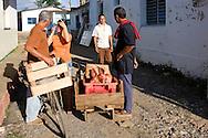 Butcher in the street in Vinales, Pinar del Rio, Cuba.