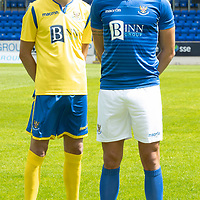 St Johnstone's Murray Davidson and Liam Gordon pictured at McDiarmid Park this afternoon wearing the new home and away kits for the 2019-20 season…20.06.19<br />Picture by Graeme Hart.<br />Copyright Perthshire Picture Agency<br />Tel: 01738 623350  Mobile: 07990 594431