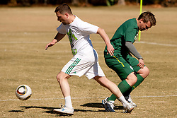 Jernej Suhadolnik and Matjaz Krajnik during friendly match between Slovenian football journalists and officials of Slovenian football federation at  Hyde Park High School Stadium on June 16, 2010 in Johannesburg, South Africa.  (Photo by Vid Ponikvar / Sportida)