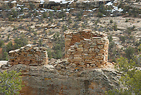 Anasazi ruins perched above Bullet Canyon, Grand Gulch Primitive Area, Cedar Mesa Utah Bears Ears National Monument