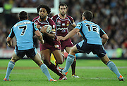 May 25th 2011: Sam Thaiday of the Maroons runs the ball during game 1 of the 2011 State of Origin series at Suncorp Stadium in Brisbane, Australia on May 25, 2011. Photo by Matt Roberts/mattrIMAGES.com.au / QRL
