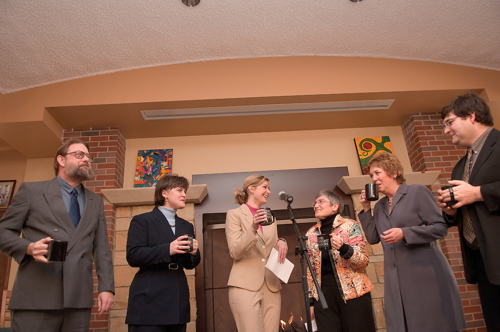 Baker Center Dedication.Ceremonial Toast.Representatives of Ohio University's Continuants groups join at the Front Room to begin the day's activities..Dave Logan, Wendy Merb Brown, Morgan Allen, Phyllis Bernt, Gail Houlette Dominic Barbato