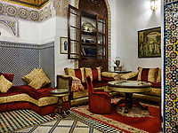 FEZ, MOROCCO - CIRCA APRIL 2017:  Interior of Riad El Yacout in Fes