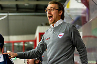 2020-01-22 | Kallinge, Sweden: Krif hockey Head Coach Emil Ivansson is cursed over a referees decision during the game between Krif hockey and Halmstad Hammers at Soft Center Arena (Photo by: Jonathan Persson | Swe Press Photo)<br /> <br /> Keywords: kallinge, Ishockey, Icehockey, hockeyettan, allettan södra, soft center arena, krif hockey, halmstad hammers (Match code: krhh200122)