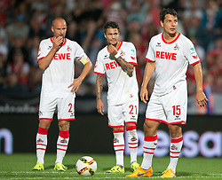 22.07.2015, Grenzland Stadion, Kufstein, AUT, Testspiel, 1. FC Köln vs RCD Espanyol Barcelona, im Bild v.l. Miso Brecko (1. FC Koeln), Leonardo Bittencourt (1. FC Koeln), Philipp Hosiner (1. FC Koeln) // f.l.t.r. Miso Brecko (1. FC Koeln) Leonardo Bittencourt (1. FC Koeln) Philipp Hosiner (1. FC Koeln) during the International Friendly Football Match between 1. FC Cologne and RCD Espanyol Barcelona at the Grenzland Stadion in Kufstein, Austria on 2015/07/22. EXPA Pictures © 2015, PhotoCredit: EXPA/ Johann Groder