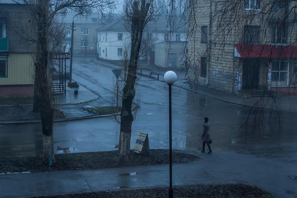 An early morning street scene on Monday, February 15, 2016 in Krasnoarmiisk, Ukraine.