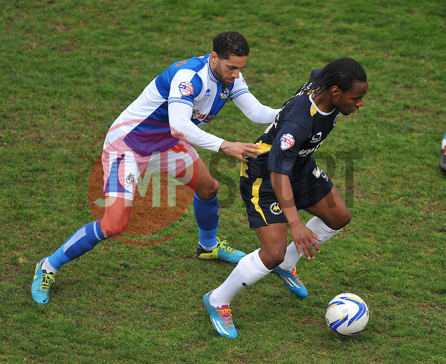 Torquay United's  shaquile Could Thirst. shields the ball from Bristol Rovers' Danny Woodards  - Photo mandatory by-line: Alex James/JMP - Mobile: 07966 386802 12/04/2014 - SPORT - FOOTBALL - Bristol - Memorial Stadium - Bristol Rovers v Torquay United - Sky Bet League Two