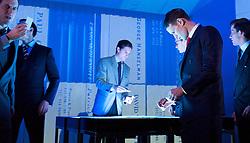 American Psycho <br /> A new musical thriller<br /> Book by Roberto Aguirre-Sacasa; music and lyrics by Duncan Sheik<br /> Based on the novel by Bret Easton Ellis<br /> directed by Rupert Goold<br /> at The Almeida Theatre, London, Great Britain <br /> Press photocall<br /> 10th December 2013 <br /> <br /> <br /> Matt Smith as Patrick Bateman <br /> <br /> <br /> Ben Aldridge<br /> Paul Owen<br /> <br /> <br /> Charlie Anson<br /> Craig McDermott<br /> <br /> Jonathan Bailey<br /> Tim Price<br /> <br /> <br /> Katie Brayben<br /> Courtney Lawrence<br /> <br /> <br /> Cassandra Compton<br /> Jean<br /> <br /> <br /> Holly Dale Spencer<br /> Sabrina<br /> <br /> <br /> Susannah Fielding<br /> Evelyn Williams<br /> <br /> <br /> Simon Gregor<br /> Detective Kimball<br /> <br /> <br /> Holly James<br /> Christine<br /> <br /> <br /> Lucie Jones<br /> Victoria / Hardbody Bartender<br /> <br /> <br /> Tom Kay<br /> Sean Bateman<br /> <br /> Gillian Kirkpatrick<br /> Patrick&rsquo;s Mother / Mrs Wolfe<br /> <br /> <br /> Eugene McCoy<br /> David Van Patten<br /> <br /> <br /> Hugh Skinner <br /> Luis Carruthers<br /> <br /> <br /> <br /> Photograph by Elliott Franks
